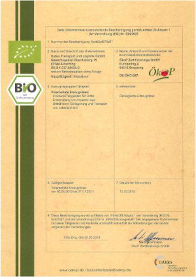 Erneuerung der Öko-Zertifizierung - Huber Logistik