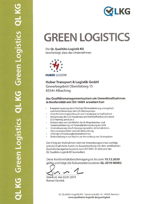 ISO 9001 & Green-Logistics Zertifizierungen 2019 - Huber Logistik